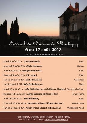 Festival du Château de Martigny, édition 2013